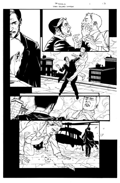 THE SHIELD #1 interior page by Drew Johnson